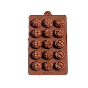Forma Silicone para Chocolate Mix Rosas - 1 Unidade