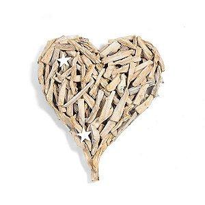 Coração Madeira Natural - 60 cm de altura - 1 Unidade