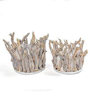 Cachepô Galhos de Madeira Natural - 20x22 cm - 1 Unidade