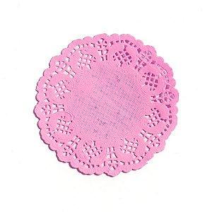 Mini Toalha Rendada de Papel Doilies Redonda - Rosa Claro - 9 cm - 12 Unidades