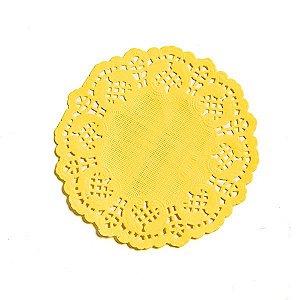 Mini Toalha Rendada de Papel Doilies Redonda - Amarelo - 9 cm - 12 Unidades