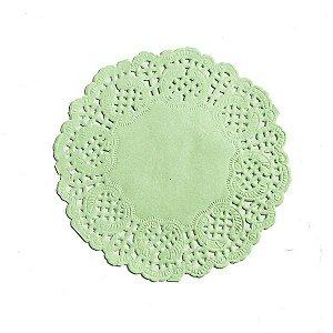 Mini Toalha Rendada de Papel Doilies Redonda - Verde Claro - 9 cm - 12 Unidades
