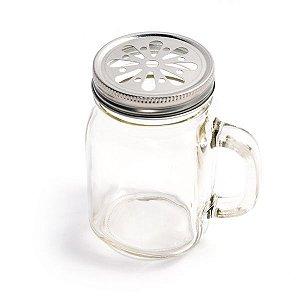 Mason Jar com Tampa Prata Margarida - 310 ml - 1 Unidade