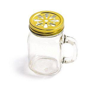 Mason Jar com Tampa Dourada Margarida - 310 ml - 1 Unidade