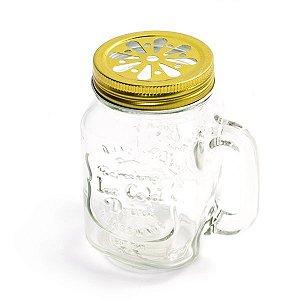 Mason Jar Original com Tampa Dourada - 400 ml - 1 Unidade