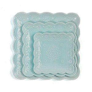Prato para Doces Quadrado Rendado Azul Claro - 15x15 cm