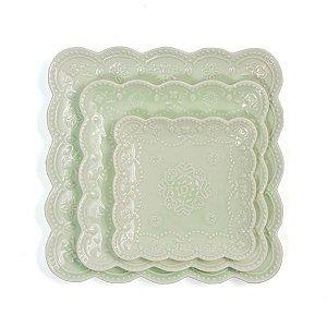 Prato para Doces Quadrado Rendado Mint - 20x20 cm