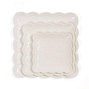 Prato para Doces Quadrado Rendado Branco - 25x25 cm