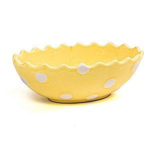 Prato para Doces Oval Scalope Amarelo - 15x10 cm