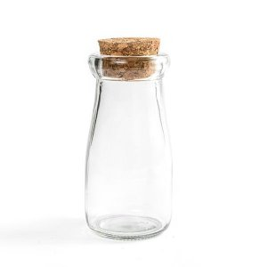 Garrafinha de Vidro Milk com Rolha - 90ml - 1 Unidade