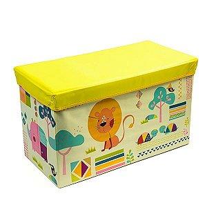 Baú Kids Leãozinho Amarelo -  59x35x29,5 cm - 1 Unidade