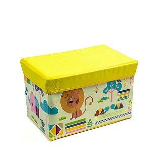 Baú Kids Leãozinho Amarelo -  43x28x28 cm - 1 Unidade