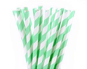 Canudo de Papel Listrado Verde - 20 Unidades