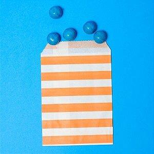 Saquinho de Papel Listras Laranja - Kit com 10 Unidades