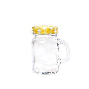 Mini Mason Jar Amarela c/ Furinho - 130 ml - 1 Unidade