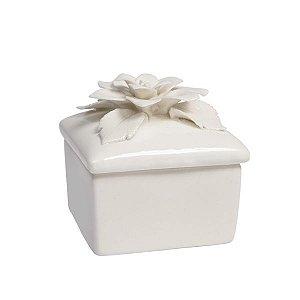 Caixa de Porcelana Quadrada - Flor