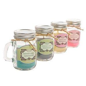 Velas Aromáticas Mini Mason Jars - Kit com 12 Unidades