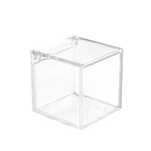 Caixinha Quadrada Transparente com Tampa Vai e Vem - Emb. com 12 und.