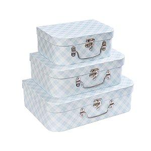 Maletas Xadrez Azul - Kit com 3 Peças