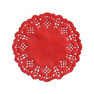 Mini Toalha Rendada de Papel Doilies Redonda - Vermelha - 9 cm - 12 Unidades