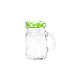 Mini Mason Jar Verde c/ Furinho - 130 ml - 1 Unidade