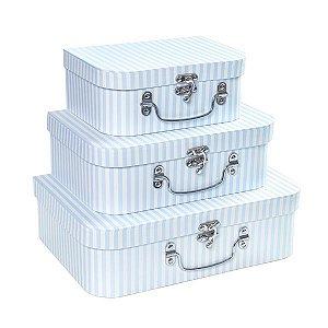 Maletas Listras Azul - Kit com 3 Peças