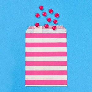 Saquinho de Papel Listrado Pink - Kit com 10 Unidades