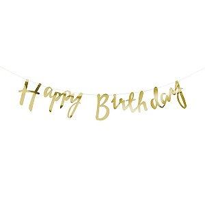 Bandeirola Happy Birthday Dourada - 1.5 m - 1 Unidade
