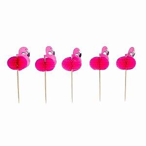 Topper Flamingo de Papel - Embalagem com 10 Unidadedes