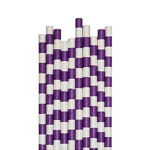 Canudo de Papel Listras Horizontais - Embalagem com 20 Unidades