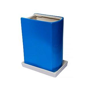 Vaso de Cerâmica Livro Azul - 22.5 x 17 cm - 1 Unidade