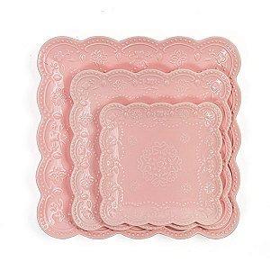 Pratos de Cerâmica Rendados para Doces - 25 x 25 cm - 1 Unidade