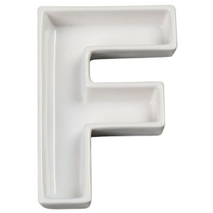 Letra F Decorativa de Cerâmica - 19 cm - 1 Unidade