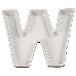 Letra W Decorativa de Cerâmica - 19 cm - 1 Unidade