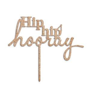 Topper para Bolo MDF Hip Hip Hooray - 18 cm - 1 Unidade