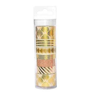 Tubo Fita Adesiva Washi Tape Gold - 1,5 cm x 5 m - 1 Unidade
