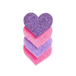 Aplique Corações de Amor - 5,5 cm - Kit com 10 Unidades