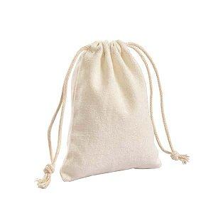 Saquinho de Tecido Branco - 16 cm - Kit com 12 Unidades