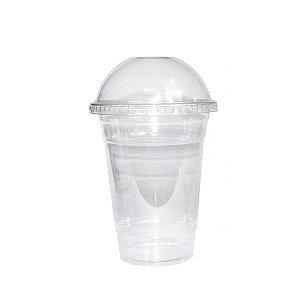 Copo Descartável para Milk Shakes com Tampa Elevada - 16 cm - Kit com 50 Unidades