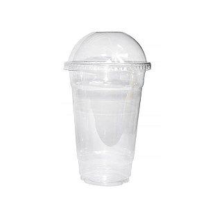 Copo Descartável para Milk Shakes com Tampa Elevada - 24 cm - Kit com 50 Unidades