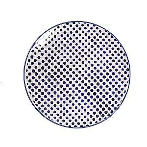 Prato de Cerâmica Poá Azul e Branco - 27 cm - 1 Unidade