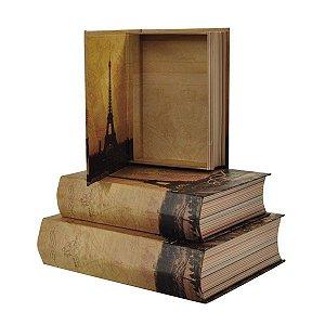 Caixa Retangular Livro Paris Vintage - Kit com 3 Unidades
