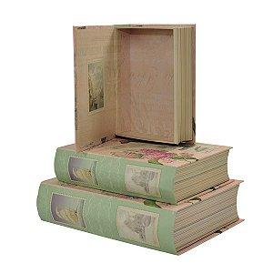 Caixa Retangular Livro Flores - Kit com 3 Unidades