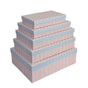 Caixa Retangular Baixa Flores Azul e Rosa - Kit com 5 Unidades