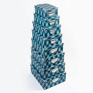 Caixa Retangular Cantoneira Xadrez Azul - Kit com  Unidades