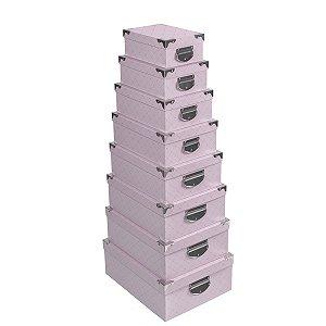 Caixa Retangular Cantoneira Pink Matelassê - Kit com 8 Unidades
