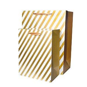 Sacola Listras Dourado - 23 x 20 cm - 1 Unidade