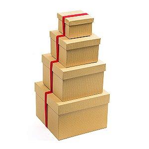 Caixa Quadrada com Elástico Vermelho - Kit com 4 Unidades
