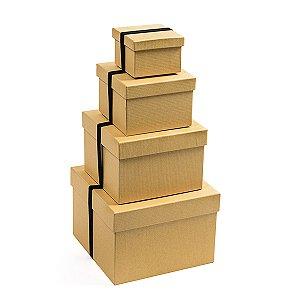 Caixa Quadrada com Elástico Preto - Kit com 4 Unidades