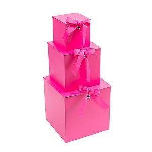 Caixa Quadrada com Laço Pink - Kit com 3 Unidades